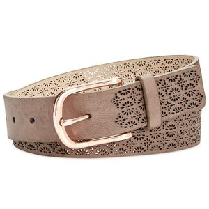 INC | Perforated Faux Leather Belt - Taupe